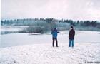 A.Auniņš un O.Opermanis pie Burtnieka ezera